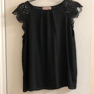 Black blouse with lace cap sleeves